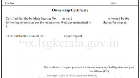 Ownership/possession Certificate for Kerala residents